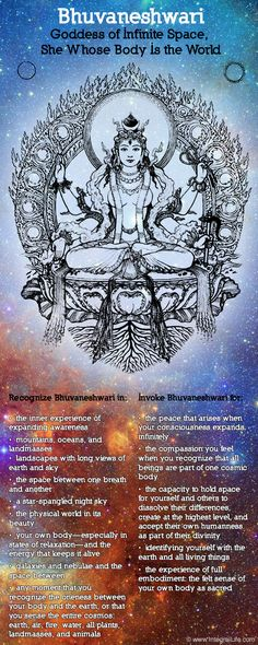 Mythology + Religion: Bhuvaneshwari, Hindu Goddess of Infinite Space (She Whose Body Is The World) Wicca, Spiritus, Sacred Feminine, Hindu Deities, Mystique, Hindu Art, Indian Gods, Tantra, Gods And Goddesses