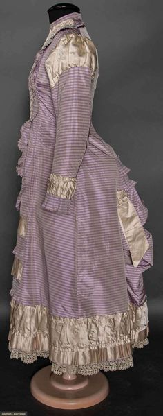Upcoming Sales  GIRL'S PURPLE STRIPE BUSTLE DRESS, 1870s 1 piece lavender silk taffeta, white pin stripes, ruched ivory satin & self pleated trims, pipe…