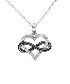Loving this Sterling Silver & Black Diamond Infinity Heart Pendant Necklace on #zulily! #zulilyfinds