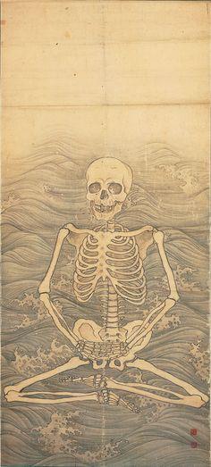 Maruyama Okyo | Skeleton Performing Zazen on Waves | 1787