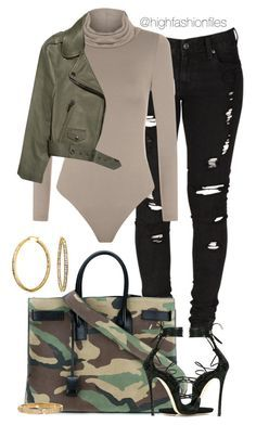 """""""Feeling Camo"""" by highfashionfiles ❤ liked on Polyvore featuring Levi's, WearAll, Acne Studios, Yves Saint Laurent, Dsquared2 and Bling Jewelry"""