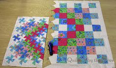Great Lil' Twister Tutorial.  Shows layout and size change.  Twister block quilt turns out about 2/3 the size of the square block quilt