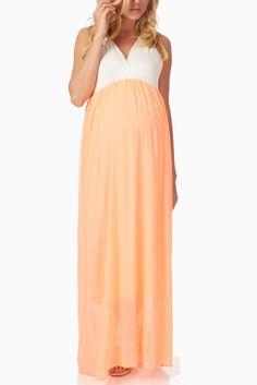 Neon-Coral-Chiffon-Colorblock-Maternity/Nursing-Maxi-Dress #maternity #fashion