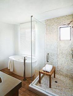 Love the pebble tile! (The Master Bathroom Plan | Jenna Sue Design Blog)