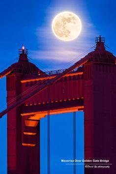 Moonrise over Golden Gate Bridge, San Francisco, California, by davidyuweb.