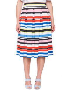 7d0dfc94992 Multi-Stripe Pleated Midi Skirt from eloquii.com Plus Size Pants