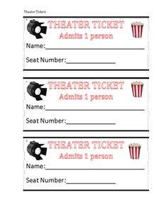 any play or production type tickets! Dramatic Play Area, Dramatic Play Centers, Drama Activities, Preschool Activities, At Home Movie Theater, Teacher Boards, Theater Tickets, Movie Themes, Play Centre