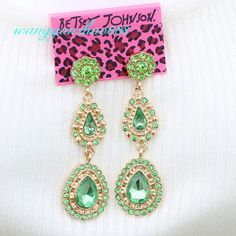 Betsey Johnson Green Crystal Gold Plated Elegant Celebrity Earrings + Tag,BJE75