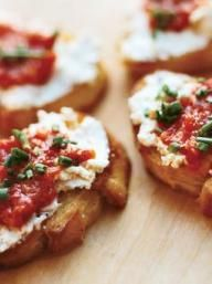 Goat Cheese Crostini with Pickled Peppers   KitchenDaily.com