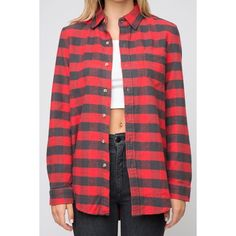 Wylie 32 Flannel (9.995 HUF) ❤ liked on Polyvore featuring tops, shirts, flannel shirt, red shirt, red button shirt, button down top and collared shirt