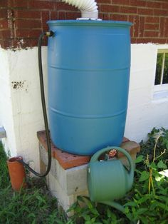 rain barrels are great for collecting water for the garden... not too hard to make.