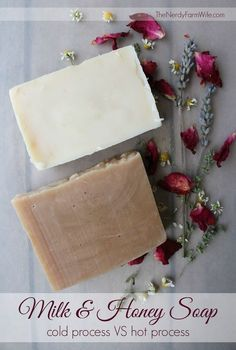 I often get questions on my milk soap making posts (HERE and HERE) as to whether it's possible to hot process soap with milk in it. The short answer is: Yes, with some care taken, you can hot process milk soap. For the longer answer, I'm going to take you step-by-step as I make this Milk and Honey Soap recipe both ways and show you just what the difference is when you hot process milk