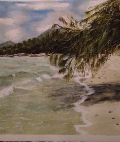 Watercolour beach port Douglas Queensland. Oak beach