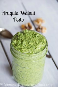 Arugula Walnut Pesto | Dinners, Dishes, and Desserts