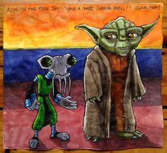 "Azmuth and Yoda Say: ""Have a wise lunch Ansel!"" (Love, Mom) // Daily Napkins: Creative Pop-Culture Napkins Drawn by Nina Levy"