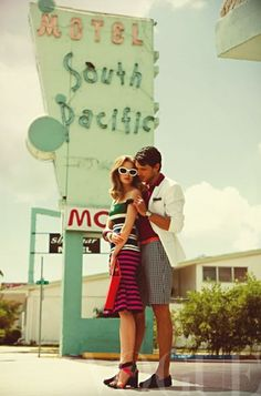 want to take anniversary photos like this...hmm where can i find a cool retro place to do it?
