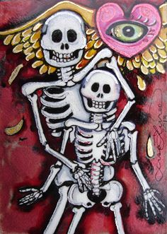 Luree Art Original Day of The Dead Valentine Love Skeleton Heart OOAK ACEO ATC | eBay