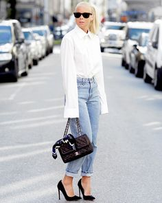 look victoria tornegren calça jeans camisa branca