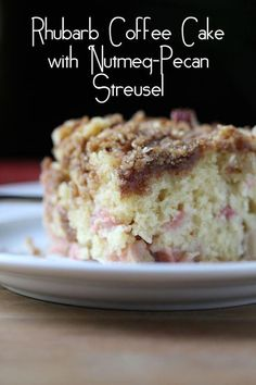 Rhubarb Coffee Cake with Nutmeg & Pecan Streusel (Sweet Peas and Saffron) I'd swap nutmeg for cinnamon! Rhubarb Coffee Cakes, Rhubarb Desserts, Rhubarb Cake, Rhubarb Recipes, Just Desserts, Delicious Desserts, Yummy Food, Sweet Recipes, Cake Recipes