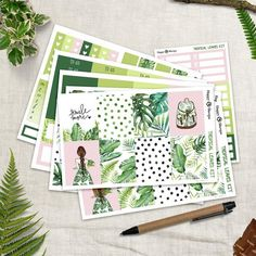 Tropical Leaves - Full Planner sticker kit sheets) - for Happy Planner and Erin Condren Weekly Planner, Life Planner, Happy Planner, Tropical Leaves, Tropical Plants, Happy D, Plant Markers, Kit, Gel Pens