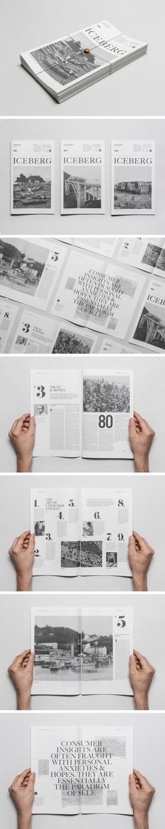Researching_New Identity for the city of Hamilton:  The layout looks like magazine. Yeah, iceberg magazine. I don't know if it is black&white or grey. Very good one!!