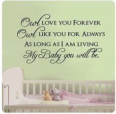 40 Owl Love You Forever Owl Like You for Always As Long As I Am Living My Baby You Will Be Wall Decal Sticker Art Mural Home Dcor Quote Baby Nursery >>> Want additional info? Click on the image. (This is an affiliate link and I receive a commission for the sales)