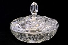 Vintage Oatmeal Crystal Candy Dish
