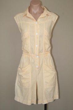 80s Retro Diane Von Furstenberg Pin Striped High Waisted Playsuit Romper sz M #DianeVonFurstenberg #Romper