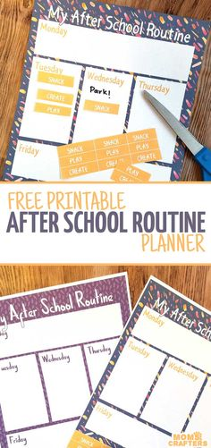 Looking for a simple way to organize your child's routine? These free printable after school routine planners are great from preschool through grade school! After School Schedule, Behavior Chart Toddler, Routine Printable, Adhd Strategies, Routine Planner, Back To School Hacks, School Routines, School Planner, School Organization