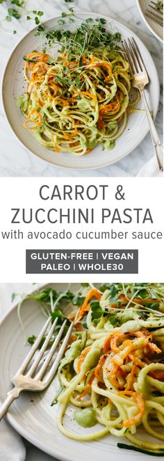 Carrot and zucchini pasta is mixed with a creamy, avocado cucumber sauce for a simple and delicious zucchini noodle recipe that's gluten-free, vegan, paleo and whole30. #zucchinipasta #zucchininoodles #zucchininoodlerecipes #glutenfreerecipes #whole30recipes