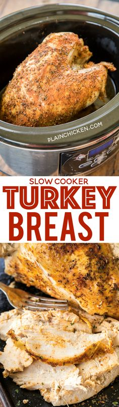 Slow Cooker Turkey Breast recipe - seriously delicious! Just season the turkey breast and throw it in the slow cooker. Ready to eat in about 5 hours. We LOVE this fuss-free turkey!!! Great for Thanksgiving and Christmas or just when you have a craving for