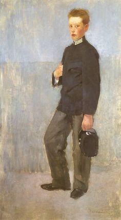 Portrait of a Boy in School Uniform, 1890 by Olga Boznańska (Polish, 1865-1940)
