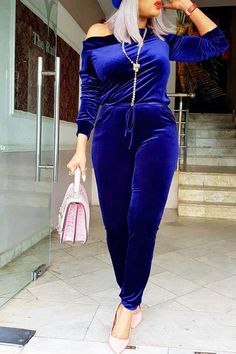 Casual Sloping Shoulder Deep Blue Velvet One-piece Jumpsuit Casual Jumpsuit, Jumpsuit Dress, Wholesale Shoes, Wholesale Clothing, Cheap Shoes Online, Velvet Fashion, Jumpsuit With Sleeves, Cute Casual Outfits, Boutique