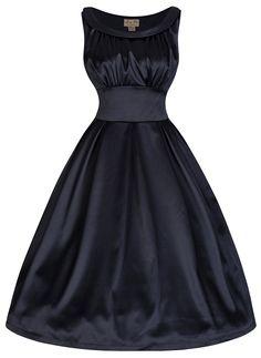 Lindy Bop 'Selema' Vintage Fifties Style Satin Evening Dress (S, Blue Black)