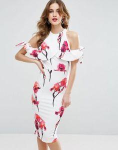 Vestido midi con diseño floral y lazo texturizado con hombros descubiertos de ASOS