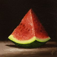 Watermelon Wedge, Original Oil Painting still life by Jane Palmer