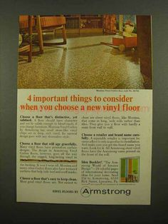 1965 Armstrong Montina Vinyl Corlon Floor Style Ad - Consider-This is a 1965 ad for a Armstrong Montina Vinyl Corlon Floor Style No. The size of the ad is approximately The caption for this ad is important things to consider wh 1960s Interior Design, Vinyl Flooring, Vintage Ads, Dreams, House, Style, Swag, Stylus, Haus