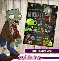 Plants Vs Zombies invitation to surprise your guests with this fabulous design, full of originality and creativity, fully customizable to your liking. Plants Vs Zombies, Zombies Vs, Zombie Birthday Parties, Zombie Party, 3rd Birthday, Birthday Ideas, Plant Zombie, Printable Designs, Cool Plants