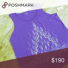 PLUS purple hi-lo cotton tank Purple cotton tank with gray tribal-ish print. Subtle hi-lo hem. Great for workout or casual wear.  Fabric content 100% cotton  Approx. Measurements in inches Bust 50 Waist 48 Hip 60 Length 25-30   No trades. Great Northwest Indigo Tops Tank Tops