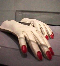 Vintage Elsa Schiaparelli gloves with red painted nails
