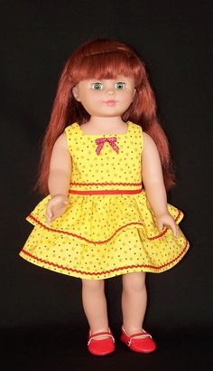 Yellow N Red Polka Dot 18 Inch Doll Dress by SewDollyCute on Etsy, $12.00
