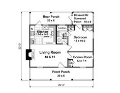 First Floor Plan of Country   Narrow Lot   House Plan 59163