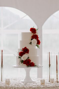 white wedding cake adorned with red and white roses wedding red Chinese Fusion Wedding in the Rocky Mountains of Colorado ⋆ Ruffled Wedding Cake Designs, Wedding Themes, Wedding Colors, Wedding Dresses, Bridesmaid Dresses, Red Rose Wedding, White Wedding Cakes, Gold Wedding, Wedding Cakes With Roses