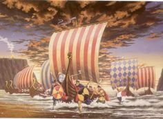 fluorescentflamez:  TheViking Invasion of Englandbegins at the Monastery on Lindisfarne, Northumberland onJune 8th, 793. This is usually considered the beginning of the Viking Era in which Scandinavian seafaring invaders traveled across the globe from Byzantium to Newfoundland. The common end date to this Viking Era is 1066.