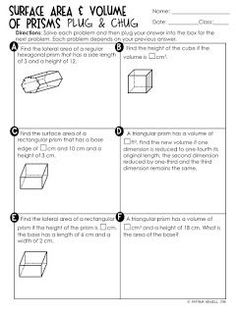 FREE Surface Area and Volume of Prisms Plug and Chug Review Activity