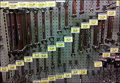 Wrenches Fixtured, Sized, and Priced Stepwise Wrench Sizes, Retail Signage, Close Up, Layout, Display, How To Plan, Binder, Hooks, Patterns