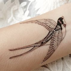 Two swallows Vintage temporary tattoo Pattern by ArrowTattoo
