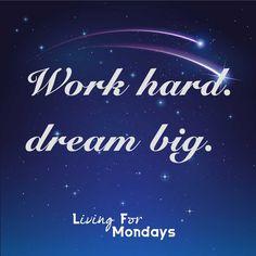"""https://www.udemy.com/u/monjawessel/  """"Work hard. Dream big."""" #work #hard #dream #big #quote #quotes #star #stars #sky #blue #inspiration #motivation"""