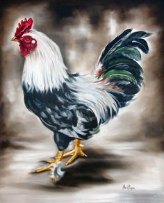 Blue And Green Rooster Painting by Ilse Kleyn - Blue And Green Rooster ...