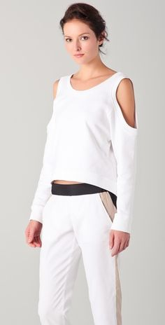perfect for spring- open shoulder sweater and colorblock pants